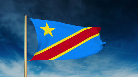 Democratic Republic of the Congo flag slider style. Waving in the wind with clou Animation