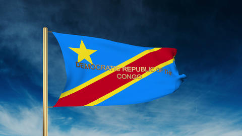 Democratic Republic of the Congo flag slider style with title. Waving in the win Animation