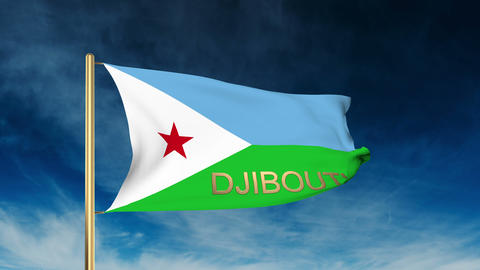 Djibouti flag slider style with title. Waving in the wind with cloud background  Animation