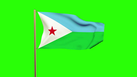 Djibouti flag waving in the wind. Green screen, alpha matte. Loopable animation Animation