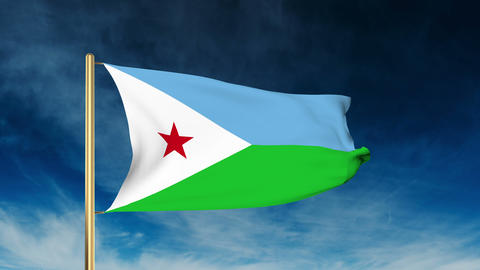 Djibouti flag slider style. Waving in the wind with cloud background animation Animation