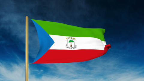 Equatorial Guinea flag slider style. Waving in the wind with cloud background an Animation