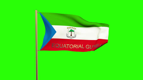 Equatorial Guinea flag with title waving in the wind. Looping sun rises style. A Animation