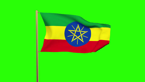 Ethiopia flag waving in the wind. Green screen, alpha matte. Loopable animation Animation