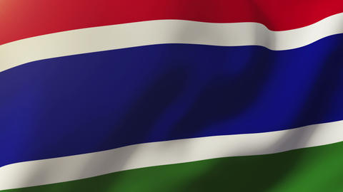 Gambia flag waving in the wind. Looping sun rises style. Animation loop Animation