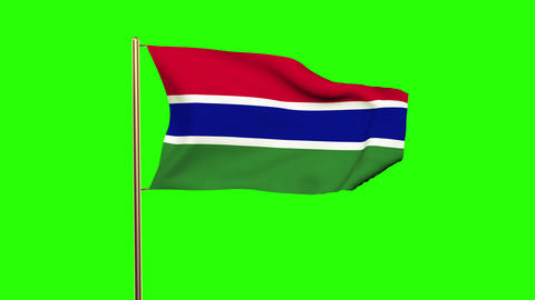 Gambia flag waving in the wind. Green screen, alpha matte. Loopable animation Animation