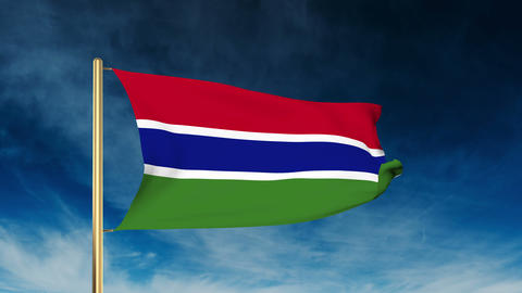 Gambia flag slider style. Waving in the wind with cloud background animation Animation