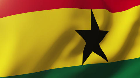 Ghana flag waving in the wind. Looping sun rises style. Animation loop Animation