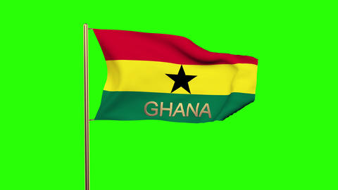 Ghana flag with title waving in the wind. Looping sun rises style. Animation loo Animation