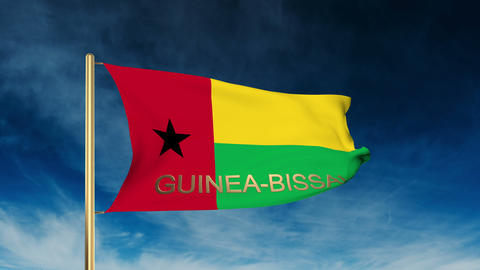 Guinea-Bissau flag slider style with title. Waving in the wind with cloud backgr Animation