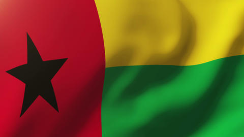 Guinea-Bissau flag waving in the wind. Looping sun rises style. Animation loop Animation