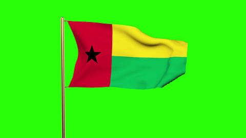 Guinea-Bissau flag waving in the wind. Green screen, alpha matte. Loopable anima Animation