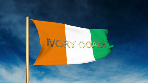 Ivory Coast flag slider style with title. Waving in the wind with cloud backgrou Animation