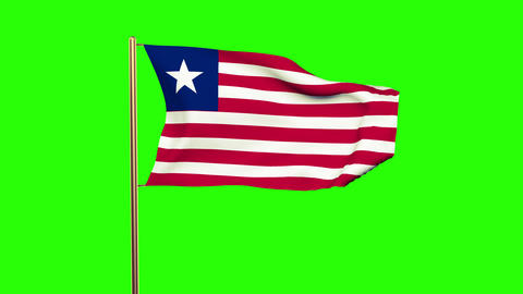 Liberia flag waving in the wind. Green screen, alpha matte. Loopable animation CG動画