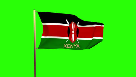 Kenya flag with title waving in the wind. Looping sun rises style. Animation loo CG動画