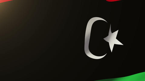 Libya flag waving in the wind. Looping sun rises style. Animation loop Animation