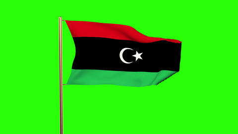 Libya flag waving in the wind. Green screen, alpha matte. Loopable animation Animation