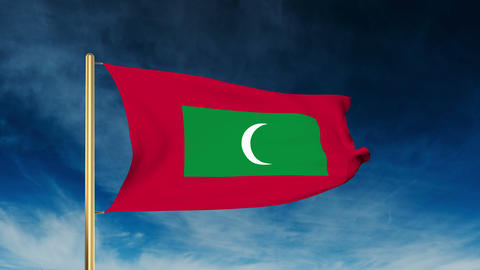 Maldives flag slider style. Waving in the wind with cloud background animation Animation