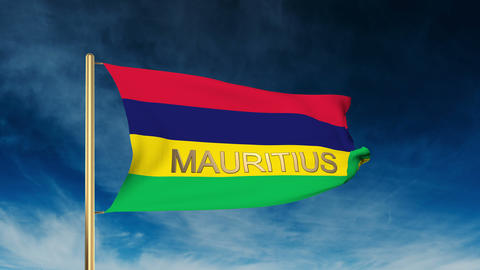 Mauritius flag slider style with title. Waving in the wind with cloud background Animation