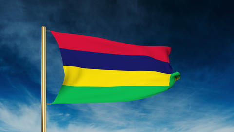 Mauritius flag slider style. Waving in the wind with cloud background animation Animation