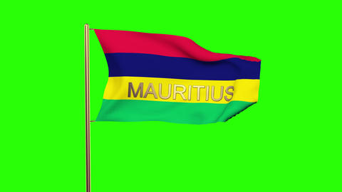 Mauritius flag with title waving in the wind. Looping sun rises style. Animation Animation
