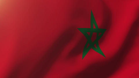 Morocco flag waving in the wind. Looping sun rises style. Animation loop Animation