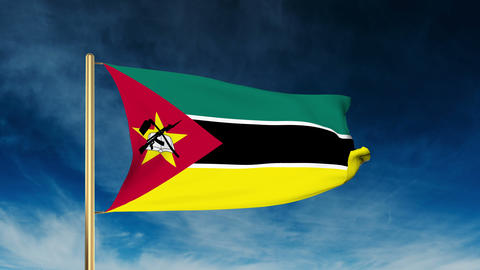 Mozambique flag slider style. Waving in the wind with cloud background animation Animation