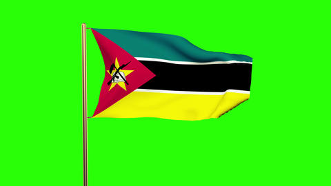 Mozambique flag waving in the wind. Green screen, alpha matte. Loopable animatio Animation