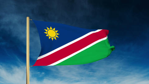 Namibia flag slider style. Waving in the wind with cloud background animation Animation