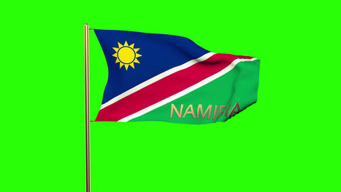 Namibia flag with title waving in the wind. Looping sun rises style. Animation l Animation