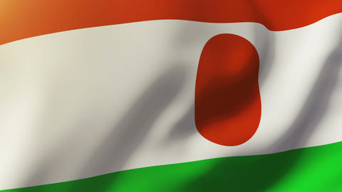 Niger flag waving in the wind. Looping sun rises style. Animation loop Animation