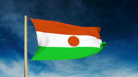 Niger flag slider style. Waving in the wind with cloud background animation Animation