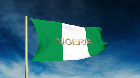 Nigeria flag slider style with title. Waving in the wind with cloud background a Animation