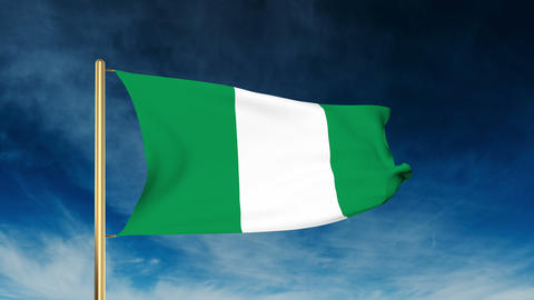Nigeria flag slider style. Waving in the wind with cloud background animation Animation
