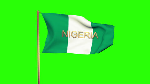 Nigeria flag with title waving in the wind. Looping sun rises style. Animation l Animation