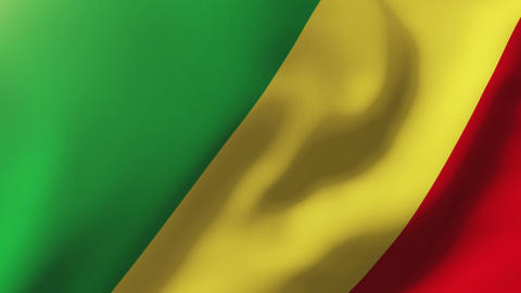 Republic of the Congo flag waving in the wind. Looping sun rises style. Animatio Animation
