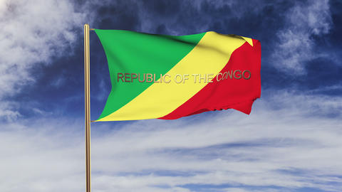 Republic of the Congo flag with title waving in the wind. Looping sun rises styl Animation