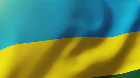 Rwanda flag waving in the wind. Looping sun rises style. Animation loop Animation
