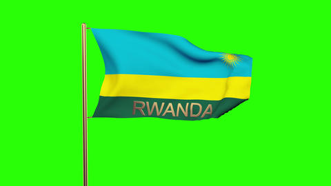 Rwanda flag with title waving in the wind. Looping sun rises style. Animation lo Animation