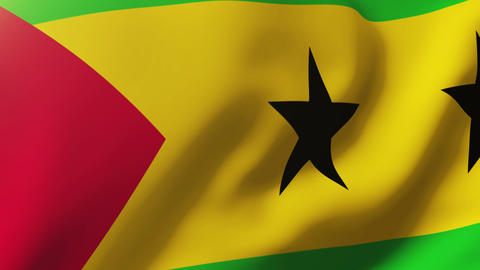 Sao Tome and Principe flag waving in the wind. Looping sun rises style. Animatio Animation
