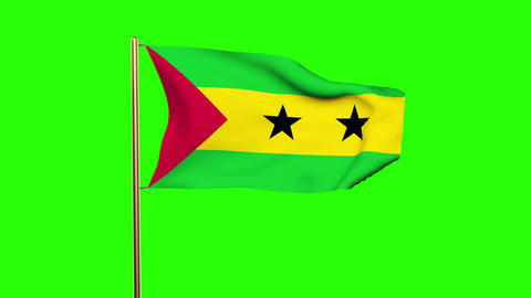 Sao Tome and Principe flag waving in the wind. Green screen, alpha matte. Loopab Animation