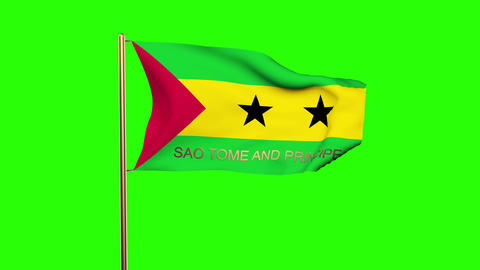 Sao Tome and Principe flag with title waving in the wind. Looping sun rises styl Animation