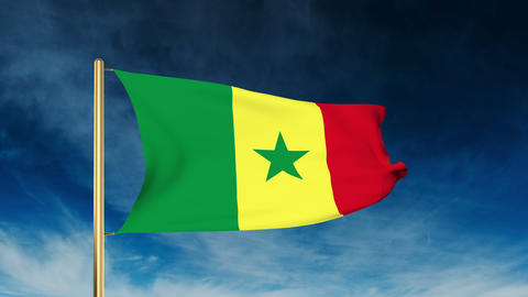 Senegal flag slider style. Waving in the wind with cloud background animation Animation