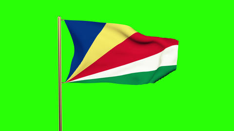 Seychelles flag waving in the wind. Green screen, alpha matte. Loopable animatio Animation