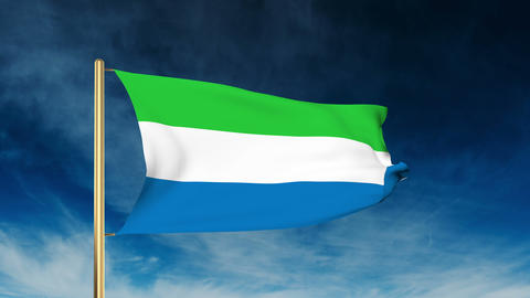 Sierra Leone flag slider style. Waving in the wind with cloud background animati Animation