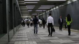 4k underground train metro tokyo people rush commute Footage