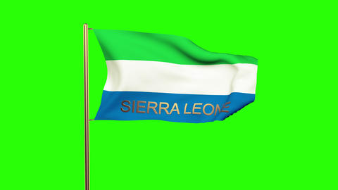 Sierra Leone flag with title waving in the wind. Looping sun rises style. Animat Animation