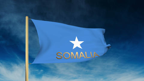Somalia flag slider style with title. Waving in the wind with cloud background a Animation