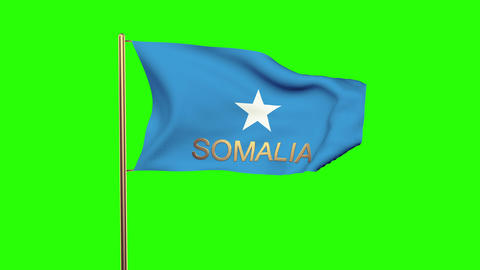 Somalia flag with title waving in the wind. Looping sun rises style. Animation l Animation