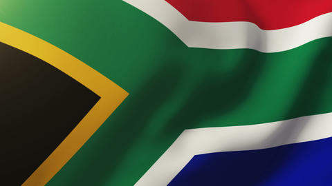 South Africa flag waving in the wind. Looping sun rises style. Animation loop Animation